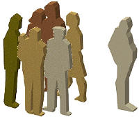 image illustrating grouping of people to show isolation of one charcater